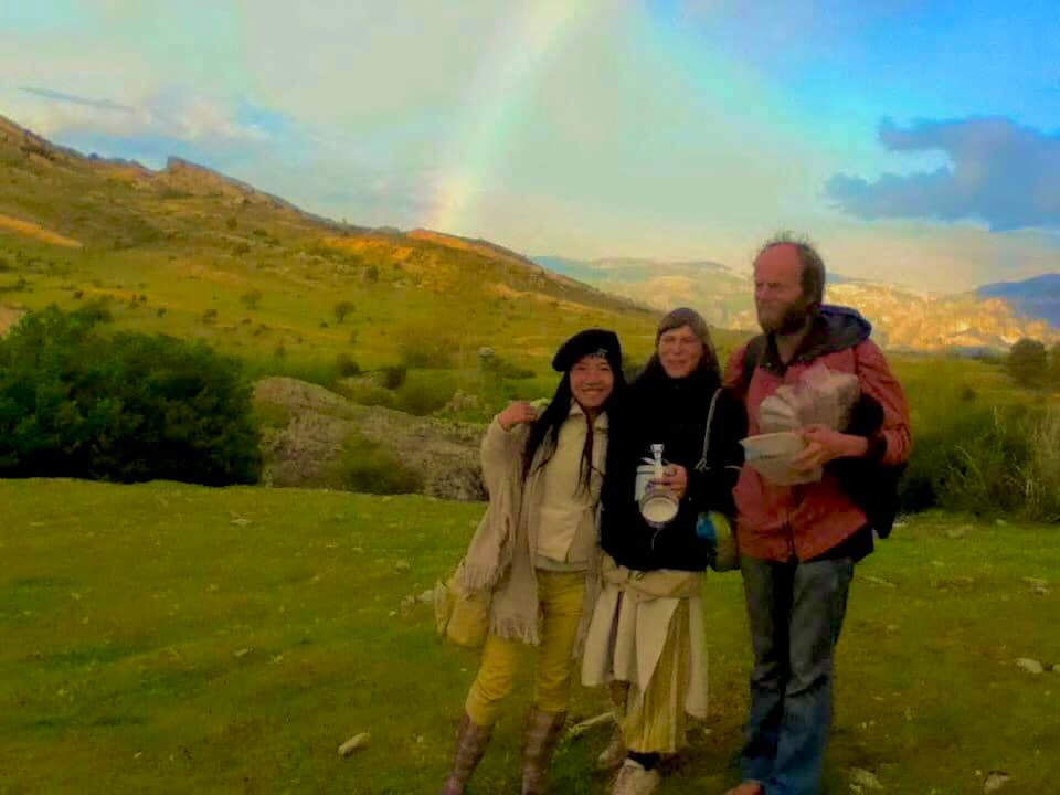Meditation magic with rainbow appear on the top of Sierra Nevada mountain